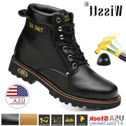Men Safety Steel Toe Outdoor Waterproof Leather Lace up Work