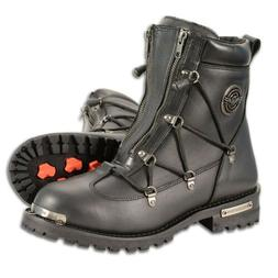 """MENS 6"""" TWIN ZIPPER WATERPROOF MOTORCYCLE BOOTS SHOES~PULL S"""