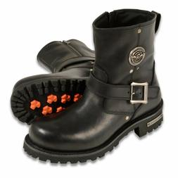 """Mens Black Leather Classic Engineer Boots, 8"""" Tall, Side Buc"""
