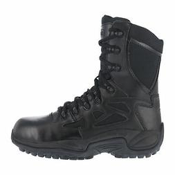 Reebok Mens Black Leather Work Boots Rapid Response Zip 8in