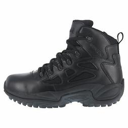 Reebok Mens Black Leather Work Boots Rapid Response Zip 6in