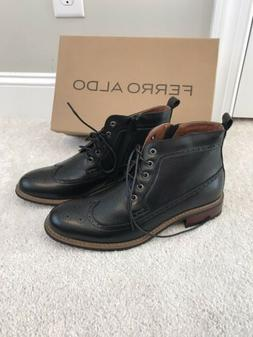 Ferro Aldo Mens Boots 9 Black Wing Tip Dress Ankle Boots New