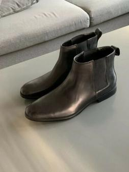 Men's Calvin Klein Cambell Leather Boots Ankle Black Chels