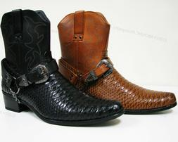 21954b33f Men s Cowboy Boots Western Snake Skin Print Zippper Buckle