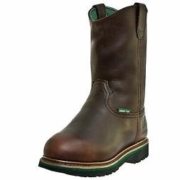 John Deere Mens Dark Brown Oiled Leather Steel Toe Work Boot