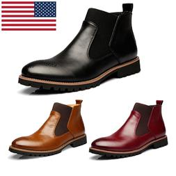 Mens Spring Fashion Martin Leather Boots Male High-top  Casu