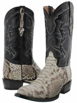 Mens Genuine Python Snake Skin Western Wear Cowboy Boots Rou