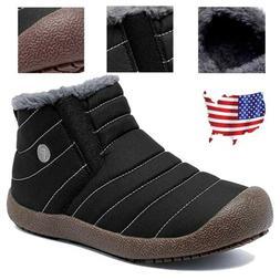 Mens High Top Snow Boots Fleece Lined Walking Nonslip Waterp