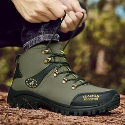 MENS LEATHER WATERPROOF 15% WALKING HIKING ANKLE BOOTS SPORT