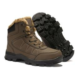 Mens Outdoor Winter Snow Boots Waterproof Thicken Fur Lined