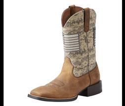 Ariat Mens Sport Patriot Brown Gray Camo Flag Boots Sz 11D -