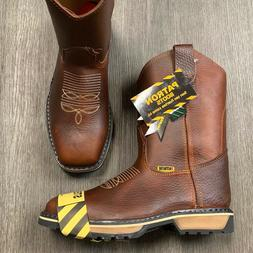 MENS SQUARED STEEL TOE WORK BOOTS DARK BROWN CLEARANCE ITEMS