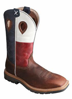 Twisted X Mens Texas Flag Leather Steel Toe Lite Weight Cowb