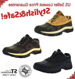 "Mens Work Boots 4"" Short Winter Snow Boots Shoes Genuine Lea"