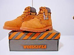 KINGSHOW Mens work BOOTS Color: Wheat M8036 size:7W-7.5W-8W-