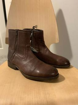 New $450 MENS FRYE SZ 8 D Red Brown Leather Heel Ankle Boots