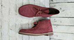 NEW Clarks Bushacre 2 Wine red Suede leather Chukkas Desert
