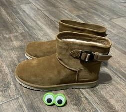 🔥NEW UGG Classic Mini Strap Chestnut Suede Wool Tan Brown