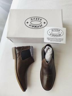 New STEVE MADDEN Impass Chelsea Leather Mid Boots Men's 9M