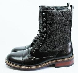 New Men's Black Polar Fox High Top Boots Cap Toe Block Heel