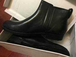 NEW : Calvin Klein Men's chealsea Leather Boot, Black, 9.5