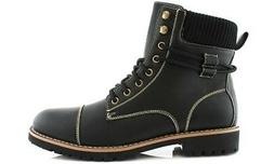 NEW Polar Fox Men's Fabian & Nicholas Combat Boots - Black -