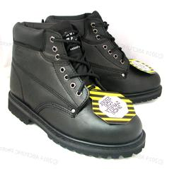 """Brand New Men's Steel Toe Work Boots 6"""" Black Leather Oil Re"""
