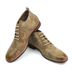New Men's Tan Ferro Aldo Ankle Boots Cap Toe Suede / Leather
