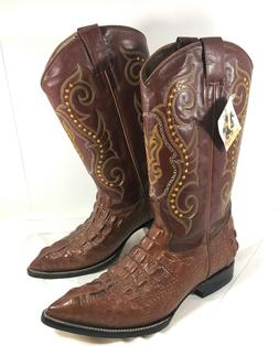 NEW Men's Jar Boots Western Boots Brown Croc embossed Leathe