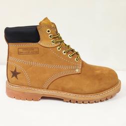 "New Men's Work Boots 6"" Tan Nubuck Leather Water Resistant /"