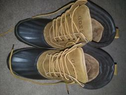 New Men's IZOD Brown Leather Brown Rubber Lace Up All Weat