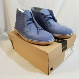 NEW Mens Clarks Bushacre 2 Mid Blue Suede Leather Chukka Boo