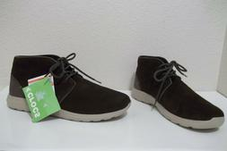 NEW MENS CROCS KINSALE CHUKKA BROWN LEATHER ANKLE BOOTS SZ 1