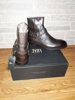 New Men's FRYE Nelson Harness Leather Boots - Dark Brown 3