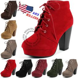 NEW Women's Fashion Comfort Stacked Chunky Heel Lace Up Ankl