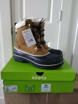 NIB! Crocs Men's AllCast II Snow Boot Wheat/Black SIZE 13 D