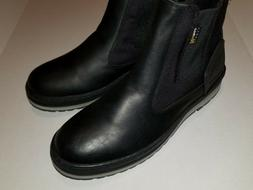 ALDO. Oloaria-97 BLACK LEATHER/CORDURA FABRIC SLIP ON BOOTS