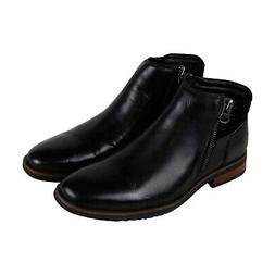 Steve Madden P-Kingpin Mens Black Leather Casual Dress Zippe