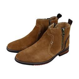 Steve Madden P-Nano Mens Tan Suede Casual Dress Zipper Boots