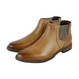 Steve Madden P-Quahog Mens Tan Brown Leather Slip On Chelsea