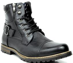 Bruno Marc Men's Philly-3 Black Military Combat Boots - 9.5