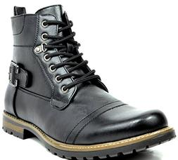Bruno Marc Men's Philly-5 Black Military Combat Boots - 10 M