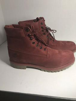 TIMBERLAND Premium Boots Men's Size 14 M Nubuck Burgundy 6