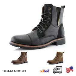 Men's Stylish Combat Formal Work Lace-Up Zipper Casual Leath