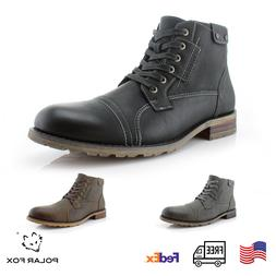 Men's Casual Work Classic Motorcycle Hiking Combat Lace-Up R