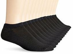 Hanes Men`s No Show Socks, 10-13-Black