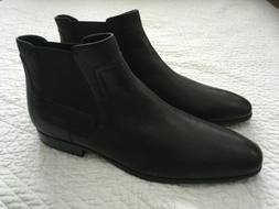 Calvin Klein Size 11 M CLARKE Leather Black Ankle Boots New