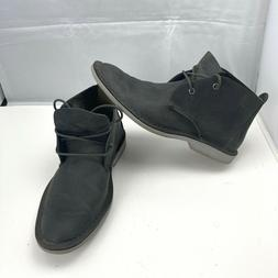 SPERRY Top Sider Chukka Boots Black Aged Leather Lace Up Ank