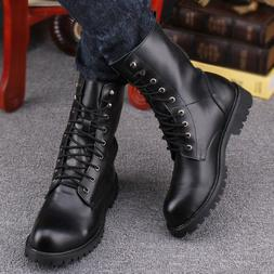 US Men's High Top Combat Motorcycle Boots Black Punk Retro M