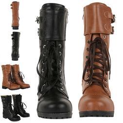 US Mens Military Vintage Biker Boots Double Buckle Leather T